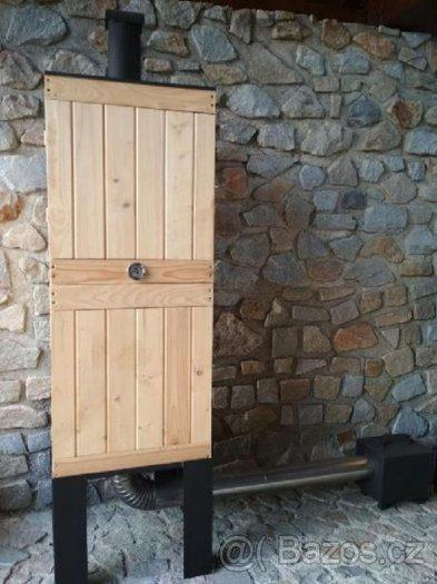 náhled Dřevěná udírna - dvoupatrová 190 cm - silný podstavec