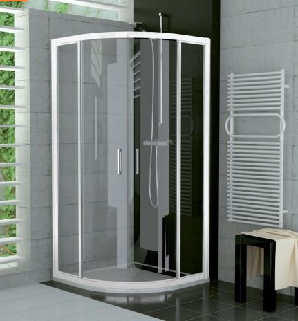 náhled Čtvrtkruhový sprchová zástěna (bílá/sklo)