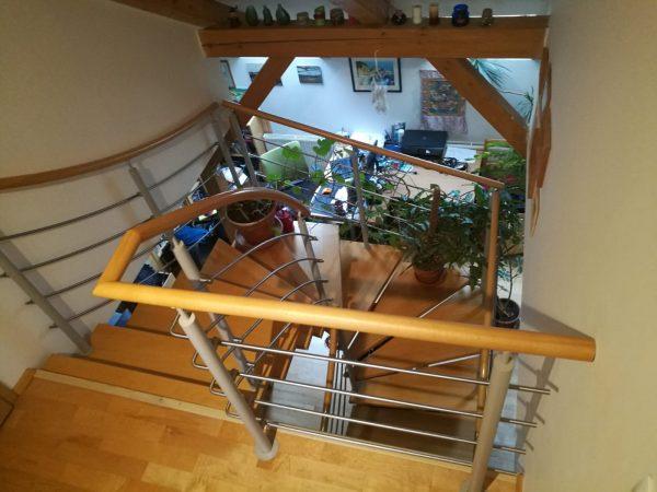 náhled Bukové schody, ocelové schodiště s nerezovým zábradlím