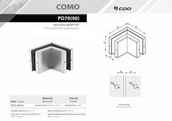 náhled Úchyty na skleněnou stěnu COMO PD70
